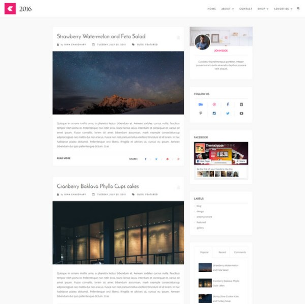 2016 Blogger Theme for Bloging