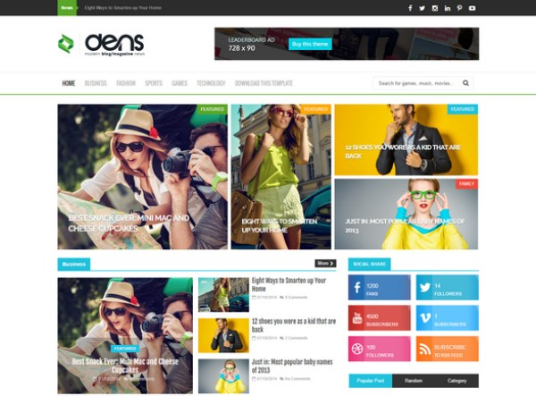 Dens magazine Blog template will give engaging reader experience