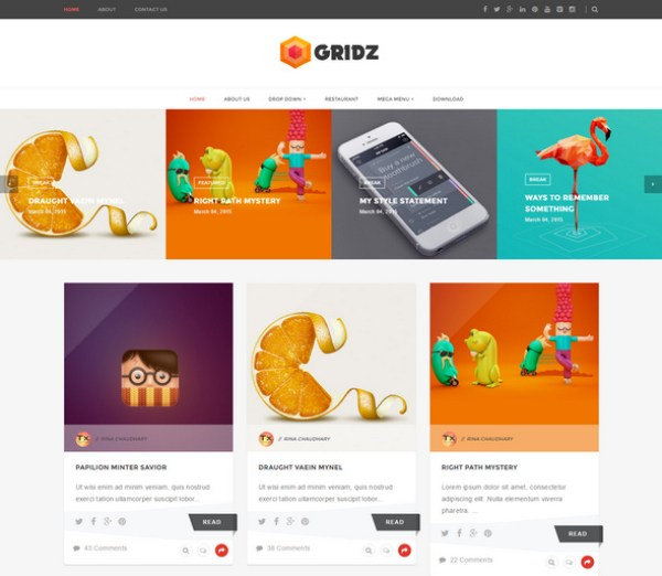 Gridz template for blogger
