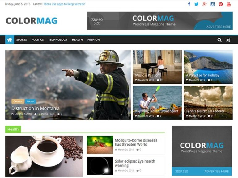 ColorMag free word press theme