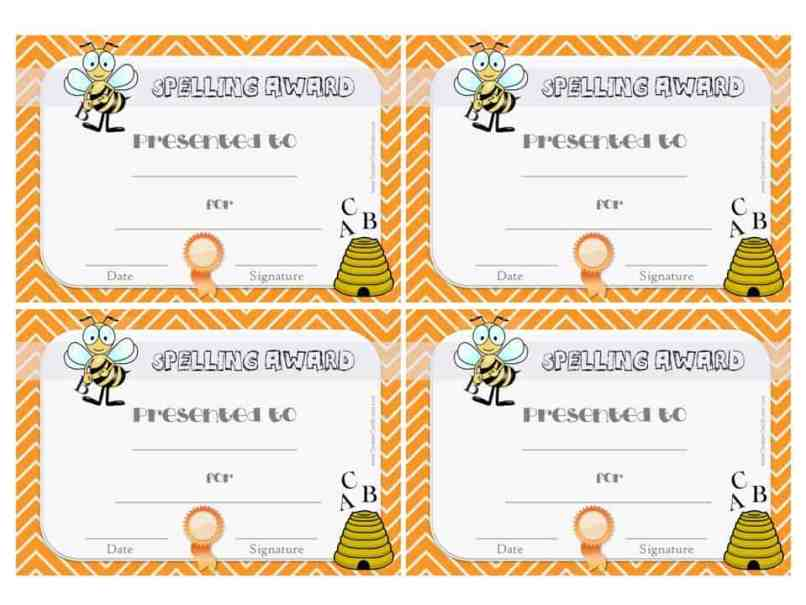 Spelling Bee Certificate For The Champ Spelling Bee Award