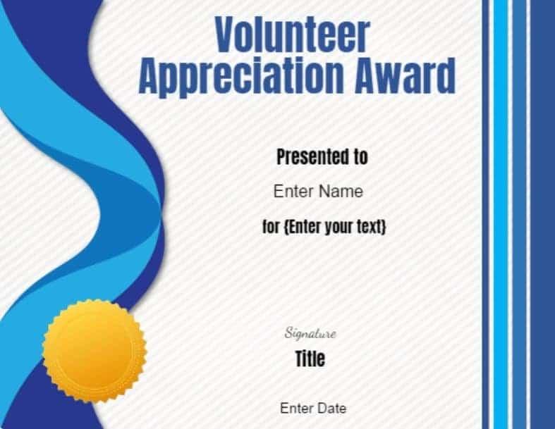 Volunteer Certificate Of Appreciation Customize Online Then Print