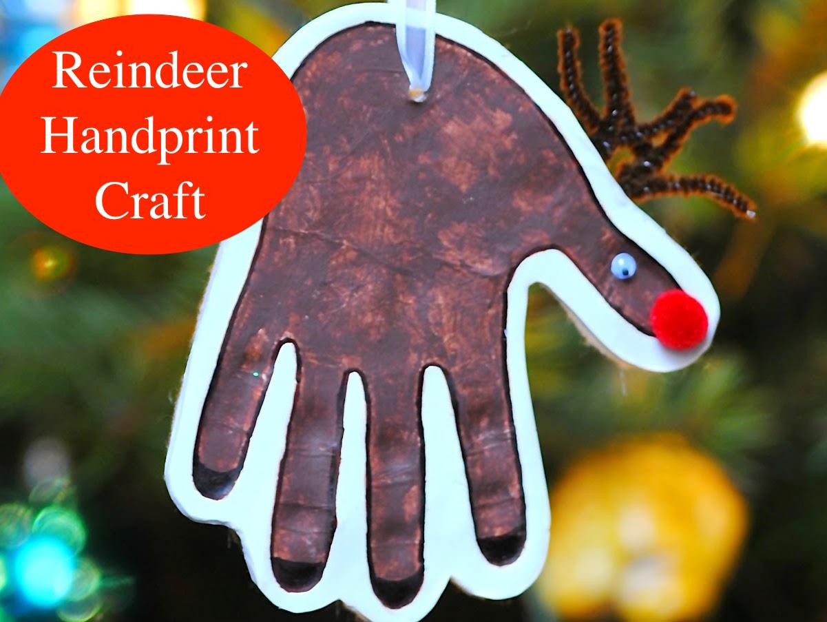 Craft Reindeer Handprint Creative Chinese