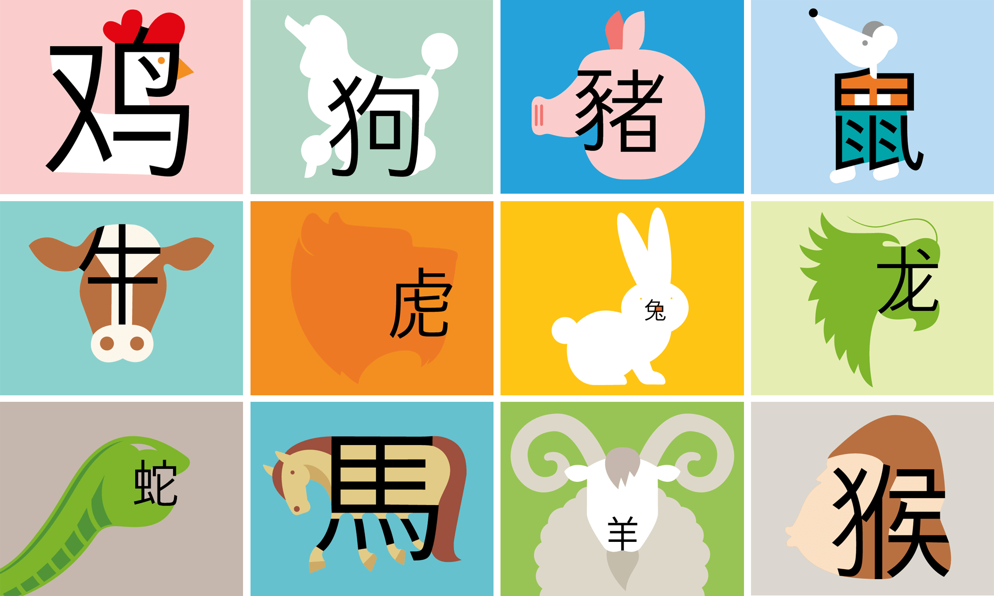 Chinese New Year Animals Of The Zodiac Characters
