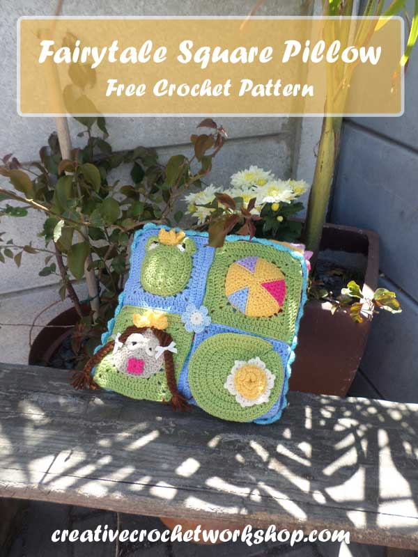 FAIRY-TALE SQUARE PILLOW | FREE CROCHET PATTERN | CREATIVE CROCHET WORKSHOP