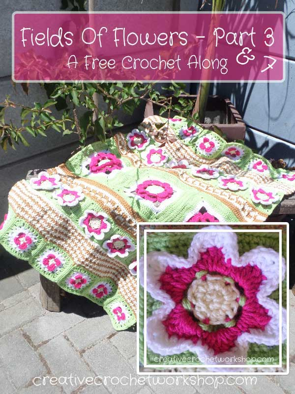 FIELDS OF FLOWERS PART THREE & SEVEN - Six Petal Flower Square | CREATIVE CROCHET WORKSHOP