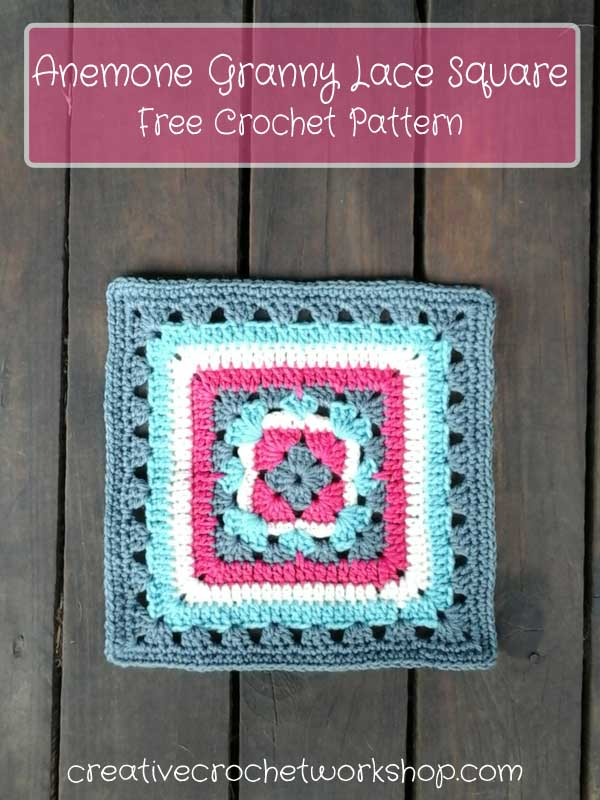 Anemone Granny Lace Square - Free Crochet Pattern | Creative Crochet Workshop
