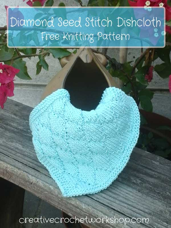Diamond Seed Stitch Dishcloth - Free Knitting Pattern | Creative Crochet Workshop