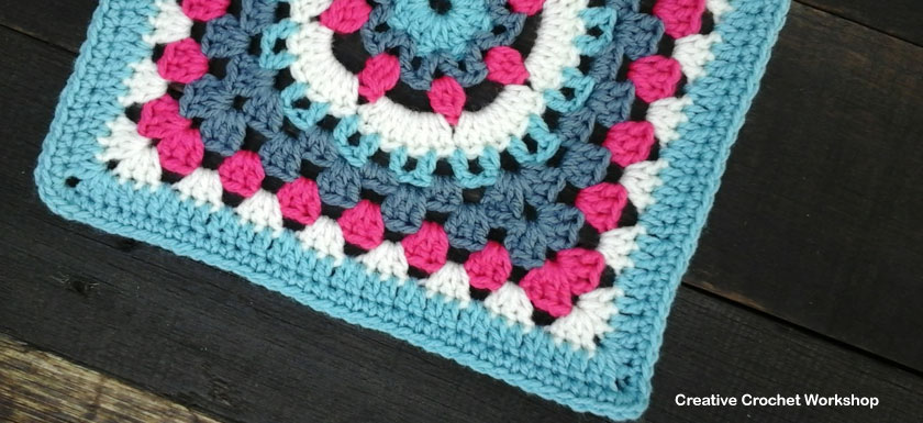 Eight Petal Flower Wheel Granny Square | Creative Crochet Workshop - This Eight Petal Flower Wheel Granny Square is the 26th Afghan Block in the Crochet A Block Afghan 2017 Crochet Along!@creativecrochetworkshop