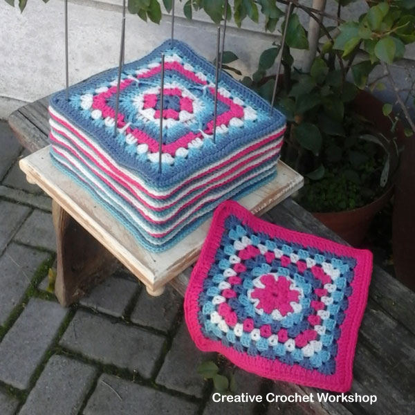 Flower V Granny Square   Creative Crochet Workshop - This Flower V Granny Square is the 24th Afghan Block in the Crochet A Block Afghan 2017 Crochet Along!@creativecrochetworkshop