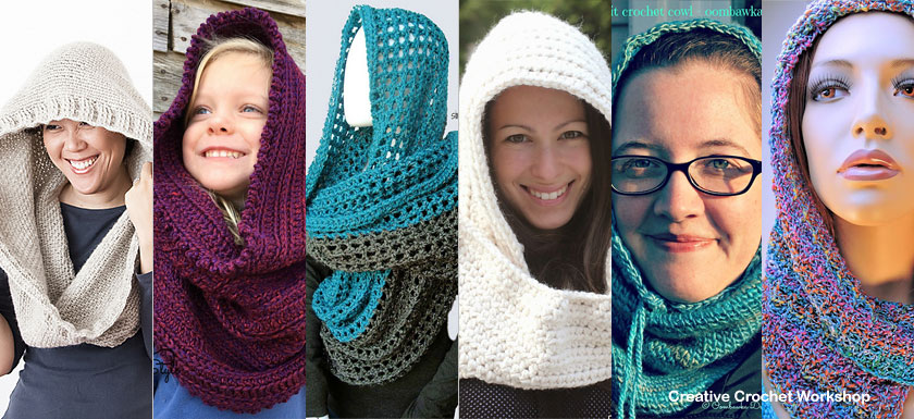 Gorgeous Hooded Cowls - Free Crochet Pattern Round Up   Compiled by Creative Crochet Workshop @creativecrochetworkshop