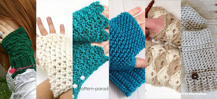 Modern Stylish Fingerless Gloves - Free Crochet Pattern Round Up | Compiled by Creative Crochet Workshop @creativecrochetworkshop