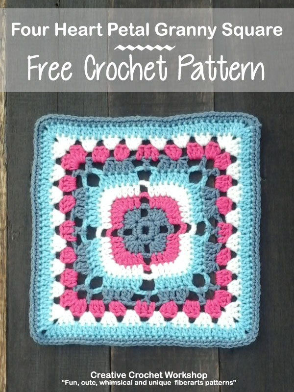 Four Heart Petal Granny Square | Creative Crochet Workshop This Four Heart Petal Granny Square is the 27th Afghan Block in the Crochet A Block Afghan 2017 Crochet Along!@creativecrochetworkshop