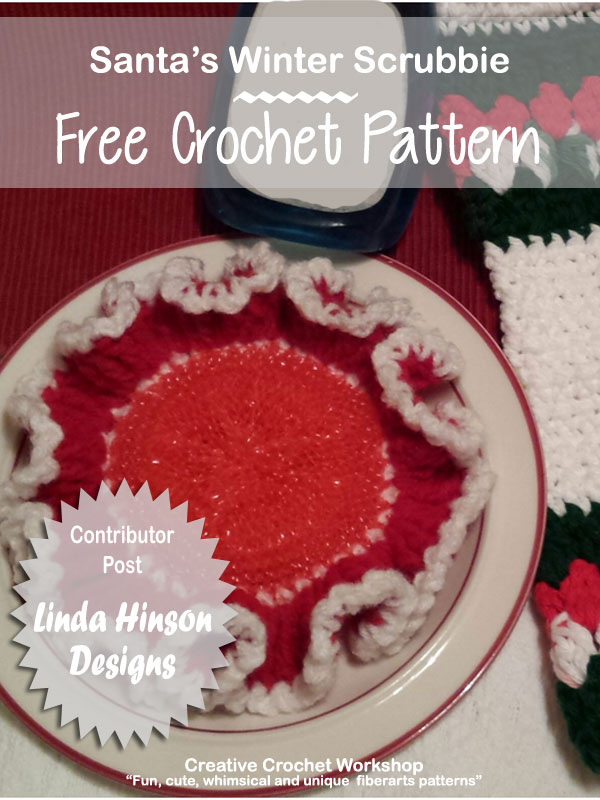 Santa's Winter Scrubbie | Free Crochet Pattern | Creative Crochet Workshop | Linda Hinson Designs