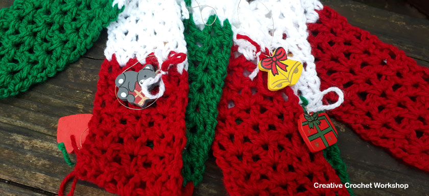 Fun Novelty Ornament Christmas Scarf | 2017 Holiday Blog Hop | Creative Crochet Workshop @creativecrochetworkshop #freecrochetworkshop #2017holidaybloghop
