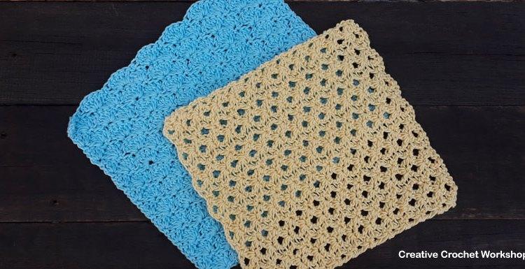 Aqua and Lemon Spa Shells Washcloths - Free Crochet Pattern | Creative Crochet Workshop @creativecrochetworkshop #crochet #freecrochetpattern #spacrochetgiftalong