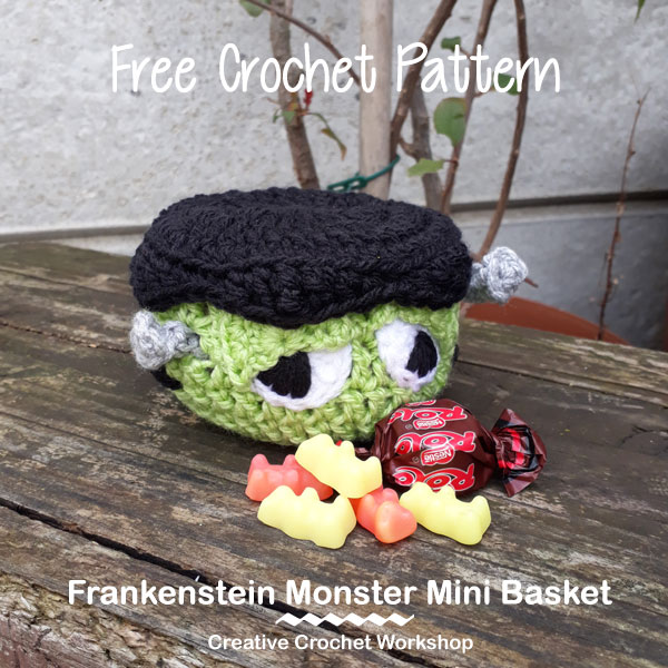 Frankenstein Monster Mini Basket | 2017 Holiday Blog Hop | Creative Crochet Workshop @creativecrochetworkshop #freecrochetworkshop #2017holidaybloghop