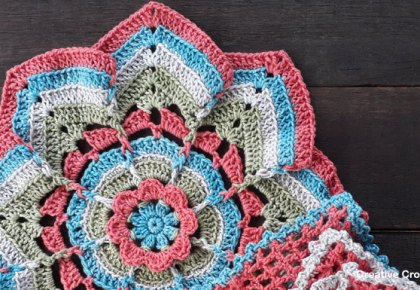 Flower Burst Potholder | Creative Crochet Workshop #ChristmasGiftAlong2017