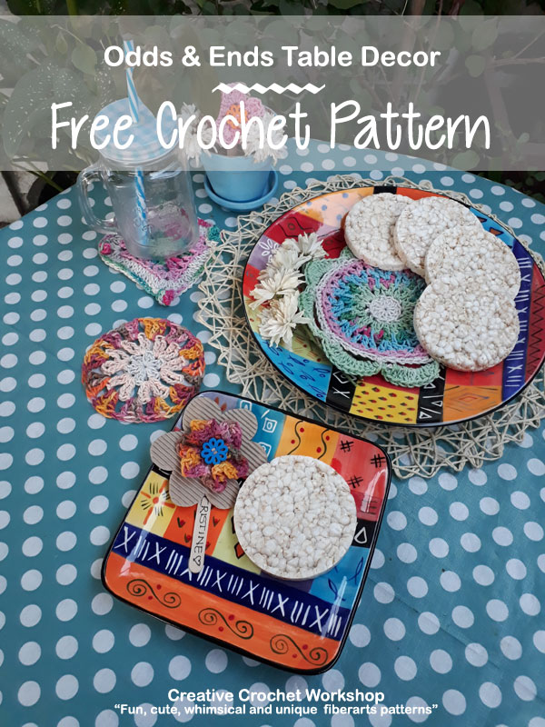 Odds & Ends Table Decor - Free Crochet Pattern | Creative Crochet Workshop @creativecrochetworkhop #freecrochetpattern