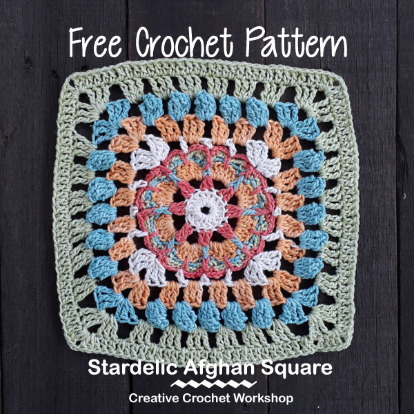 Stardelic Afghan Square | Creative Crochet Workshop @creativecrochetworkshop #freecrochetpattern #grannysquare #afghansquare #crochetalong #ccwcrochetablock2018