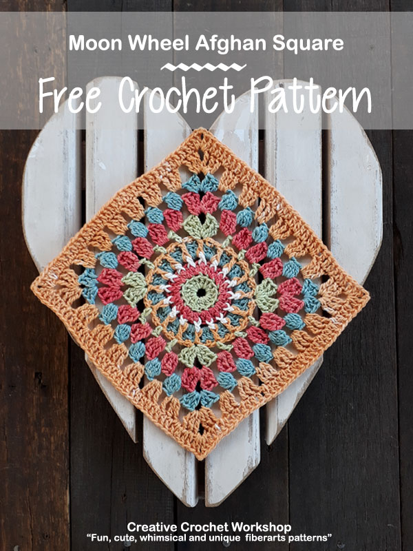 Moon Wheel Afghan Square | Creative Crochet Workshop @creativecrochetworkshop #freecrochetpattern #grannysquare #afghansquare #crochetalong #ccwcrochetablock2018