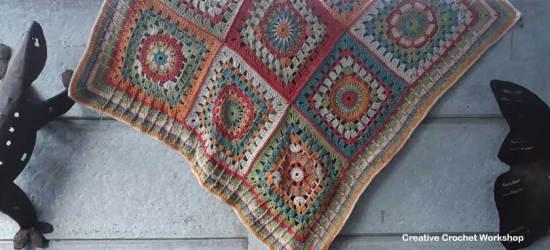 Cosmic Constellation Throw   Creative Crochet Workshop @creativecrochetworkshop #freecrochetpattern #grannysquare #afghansquare #crochetalong #ccwcrochetablock2018