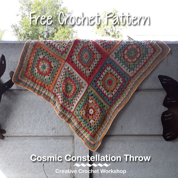 Cosmic Constellation Throw | Creative Crochet Workshop @creativecrochetworkshop #freecrochetpattern #grannysquare #afghansquare #crochetalong #ccwcrochetablock2018