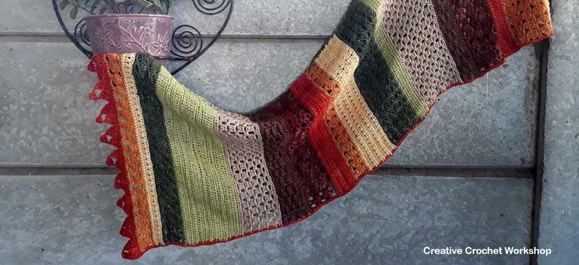 Autumn Falls Wrap | Free Crochet Along | Creative Crochet Workshop #creativecrochetworkshop #freecrochetpattern #crochetalong #crochet #ccwautumnfallswrap