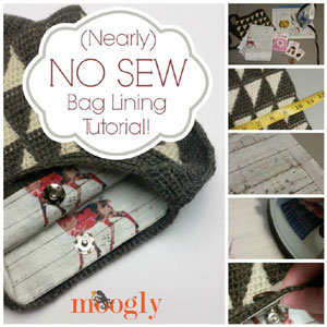 Nearly No Sew Bag Lining Tutorial from Moogly