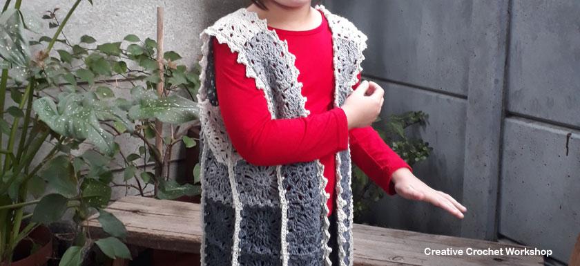 The Harmony Grey Vest| Creative Crochet Workshop #freecrochetpattern