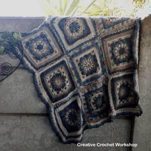 The Oceania Throw | Creative Crochet Workshop @creativecrochetworkshop #freecrochetpattern #grannysquare #afghansquare #crochetalong #ccwcrochetablock2018