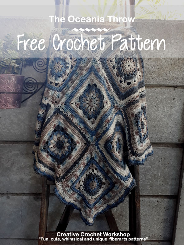 The Oceania Throw | Creative Crochet Workshop @creativecrochetworkshop #freecrochetpattern #grannysquare #afghansquare #crochetalong #ccwcrochetablock2018