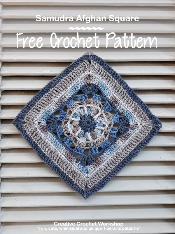 Samudra Afghan Square | Creative Crochet Workshop @creativecrochetworkshop #freecrochetpattern #grannysquare #afghansquare #crochetalong #ccwcrochetablock2018