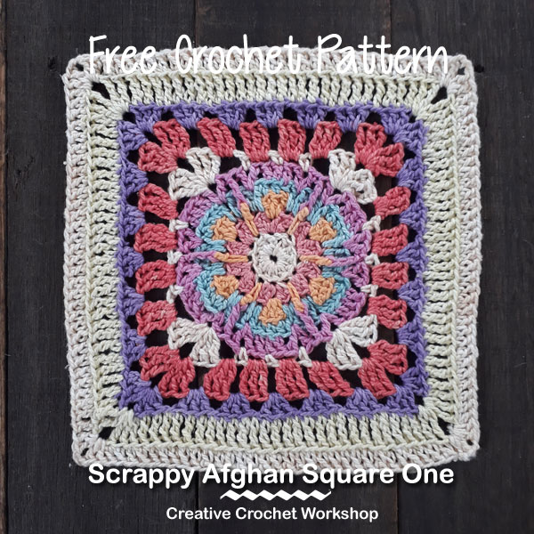Scrappy Afghan Square 2018 Number One - Free Crochet Pattern | Creative Crochet Workshop @creativecrochetworkshop #freecrochetpattern #grannysquare #afghansquare #crochetalong #ccwcrochetablock2018