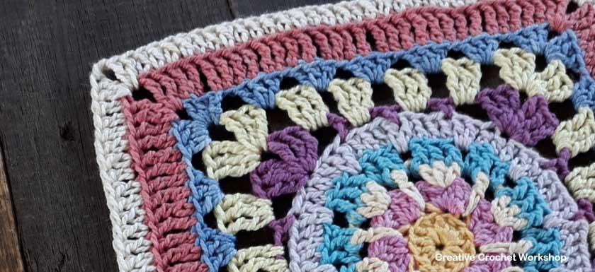 Scrappy Afghan Square 2018 Number Four - Free Crochet Pattern | Creative Crochet Workshop @creativecrochetworkshop #freecrochetpattern #grannysquare #afghansquare #crochetalong #ccwcrochetablock2018