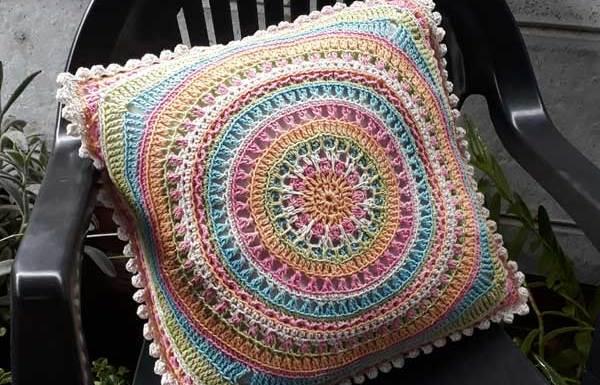 Scrapsadelic Groovy Cushion by Joanita Theron
