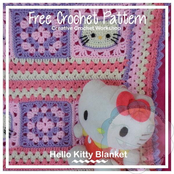 Hello Kitty Baby Blanket - Free Crochet Pattern | Creative Crochet Workshop #freecrochetpattern #crochet #crochetblanket