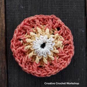 Fire Flower Square - Free Crochet Pattern   Creative Crochet Workshop #freecrochetpattern #crochet #crochetsquare