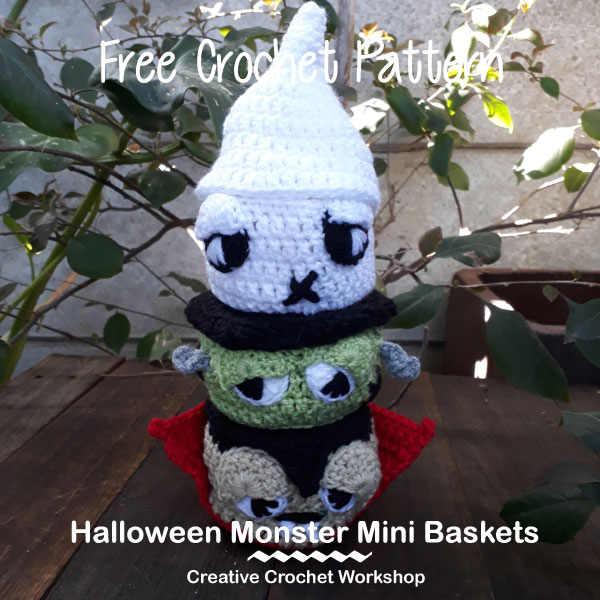 Halloween Monster Mini Baskets | Halloween Crochet Along 2018 | Creative Crochet Workshop @creativecrochetworkshop #freecrochetpattern #halloweencal2018