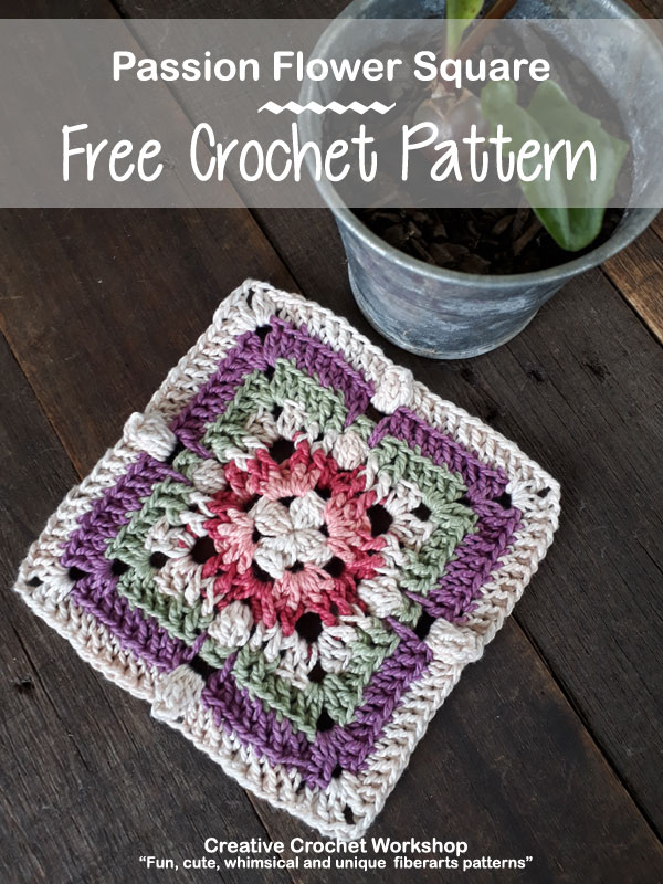 Passion Flower Square - Free Crochet Pattern | Creative Crochet Workshop #freecrochetpattern #crochet #crochetsquare
