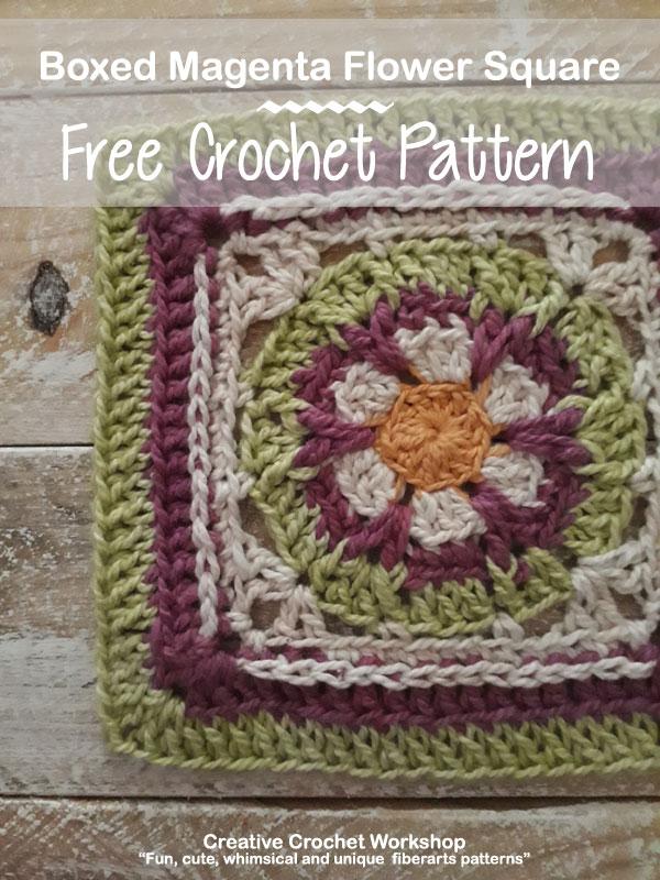 Boxed Magenta Flower Square - Free Crochet Pattern   Creative Crochet Workshop #freecrochetpattern #crochet #crochetsquare