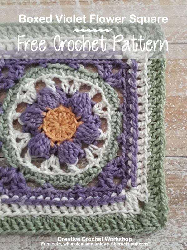 Boxed Violet Flower Square - Free Crochet Pattern | Creative Crochet Workshop #freecrochetpattern #crochet #crochetsquare