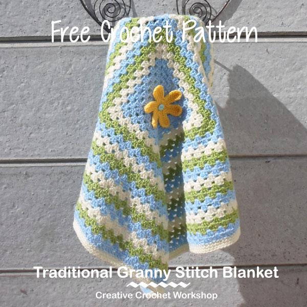 Traditional Granny Stitch Blanket - Free Crochet Pattern | Creative Crochet Workshop #freecrochetpattern #crochet @creativecrochetworkshop