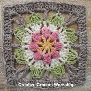 Magic Flower Square - Free Crochet Pattern | Creative Crochet Workshop @creativecrochetworkshop #freecrochetpattern #grannysquare #afghansquare #crochetalong #ccwscrapsrificrainbowblanket
