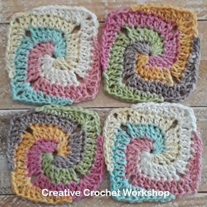 Rainbow Swirl Mini Square - Free Crochet Pattern   Creative Crochet Workshop @creativecrochetworkshop #freecrochetpattern #grannysquare #afghansquare #crochetalong #ccwscrapsrificrainbowblanket