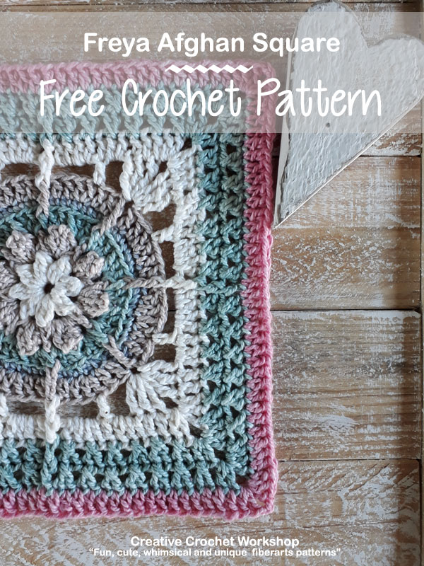 Freya Afghan Square - Free Crochet Pattern | Creative Crochet Workshop @creativecrochetworkshop #freecrochetpattern #grannysquare #afghansquare #crochetalong #ccwcrochetablock2019