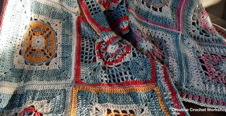2019 Crochet A Block Border - Free Crochet Pattern   Creative Crochet Workshop @creativecrochetworkshop #freecrochetpattern #grannysquare #afghansquare #crochetalong #ccwcrochetablock2019