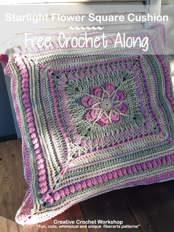 Starlight Flower Square Cushion | Creative Crochet Workshop @creativecrochetworkshop #crochetalong #crochetcushion #crochet #ccwstarlightflowercal #crochetpattern