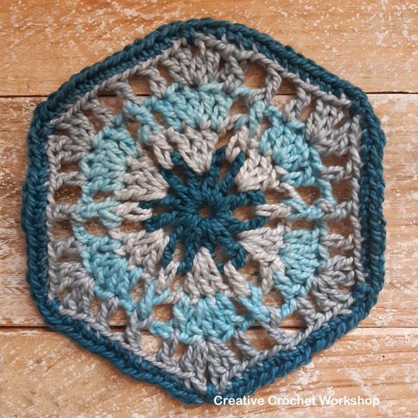 Bleu Hexagon - Free Crochet Pattern | Creative Crochet Workshop #freecrochetpattern #crochet #crochetalong #hexagon @creativecrochetworkshop