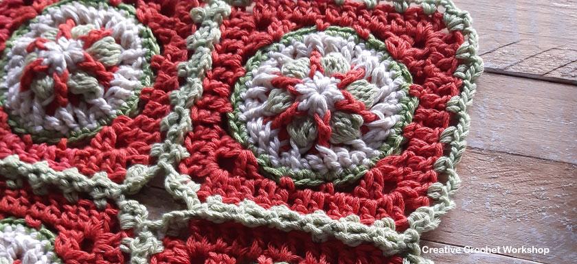 The Christmas Adornment Square - Free Crochet Pattern | Creative Crochet Workshop #freecrochetpattern #crochet #crochetsquare #Christmascrochet @creativecrochetworkshop